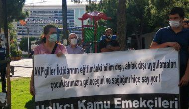 Halkçı Kamu Emekçileri olarak AKPgillerin Korona Salgını sürecinde öğrencilerimizin sağlığını hiçe sayarak YKS ve LGS sınavlarını yapmalarını protesto ettik